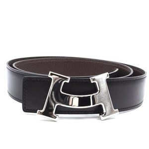 Hermès Black On Brown 32mm Smile H Reversible Belt